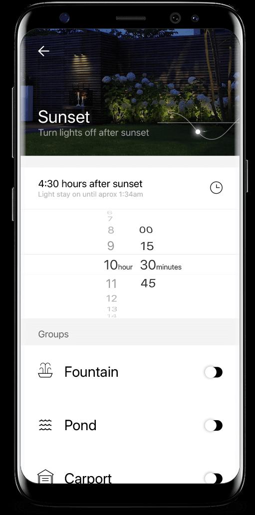 in-lite tuinverlichting app routines samsung galaxy s8