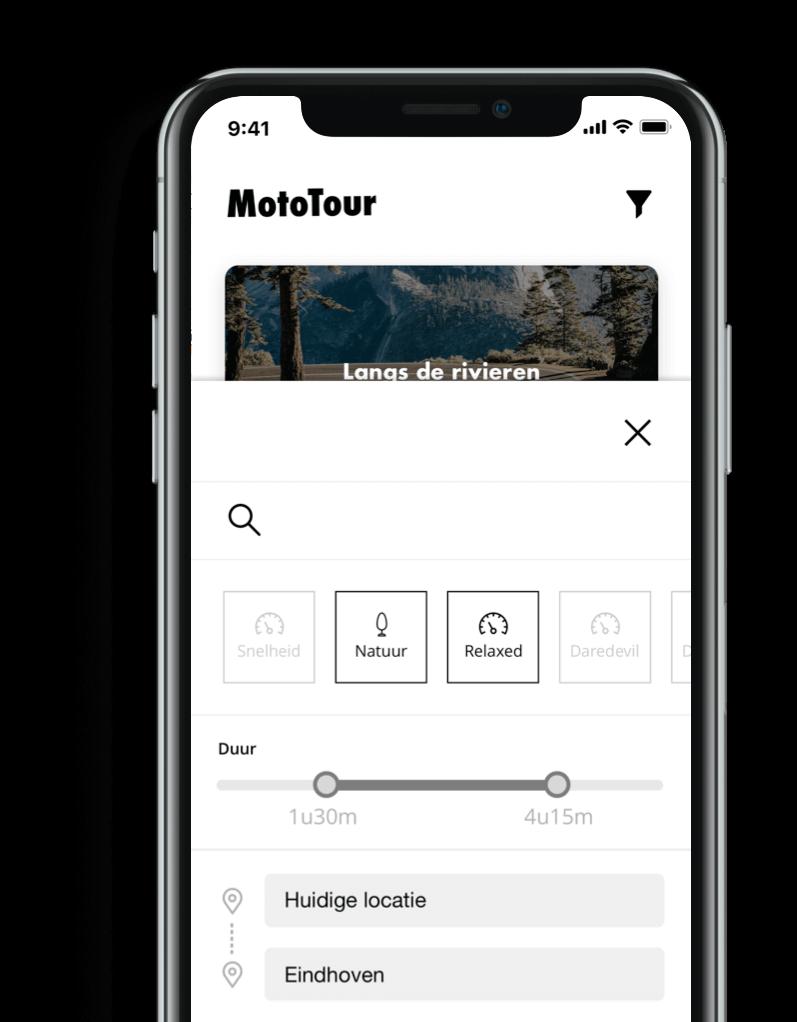 Mototour app filteren