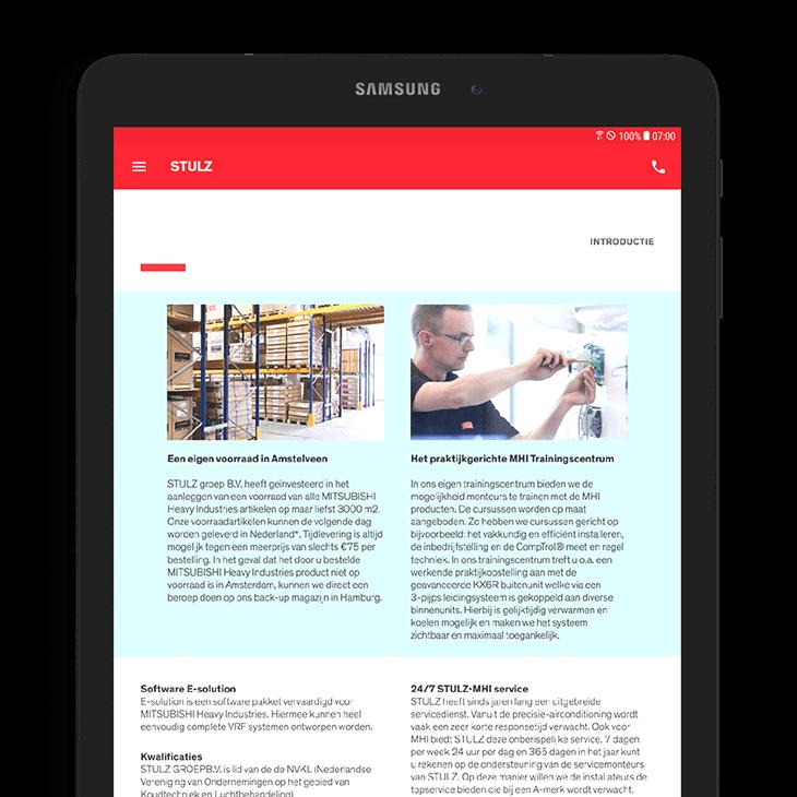 Stulz heeft een tablet app laten ontwikkelen bij Coffee IT