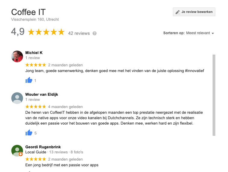 Google Business reviews Coffee IT