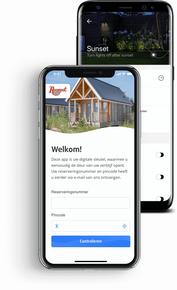 Native apps Roompot Digital Key en In-lite tuinverlichting app