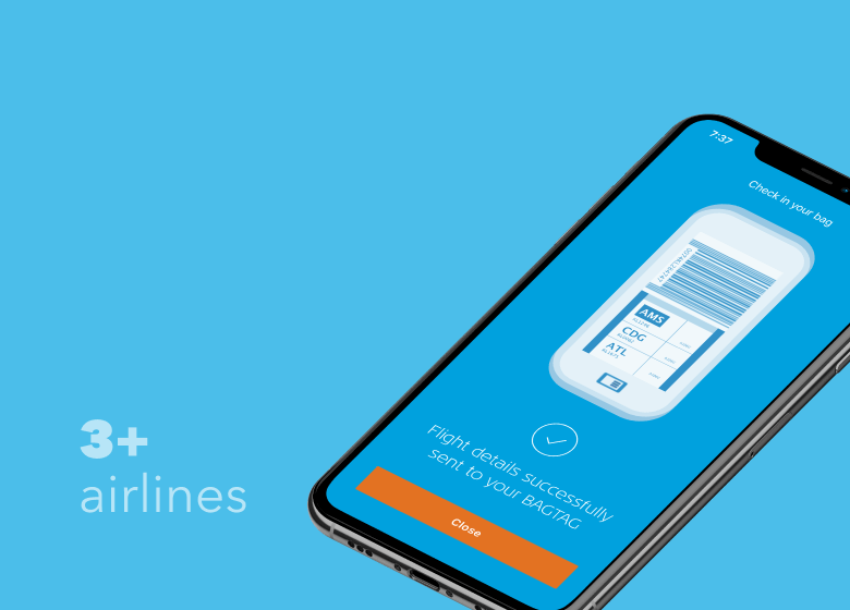 KLM BAGTAG AIRLINE CHECK-IN MOBIELE APP