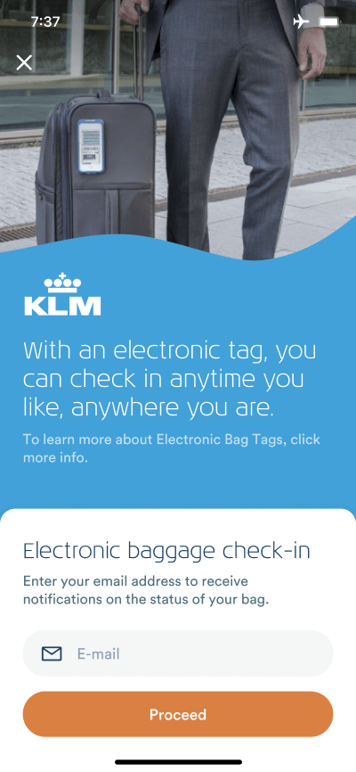 BAGTAG KLM Electronic bagage check-in