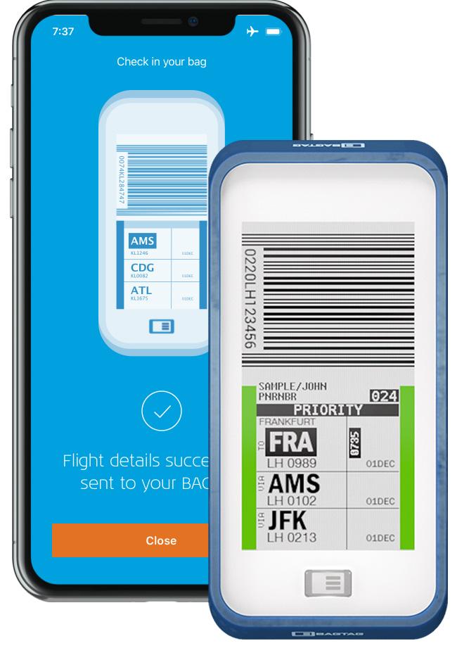 Native app iOS & Android, Internet of Things. KLM en Bagtag
