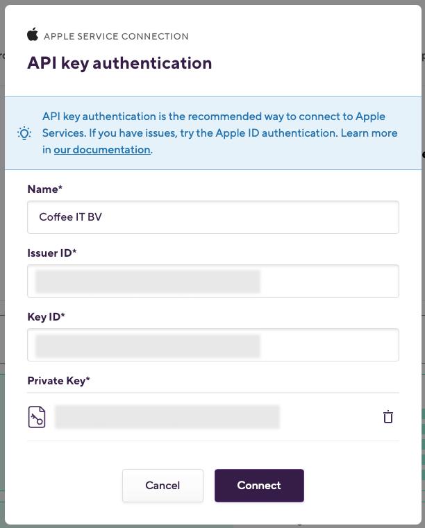 apple api key authentication