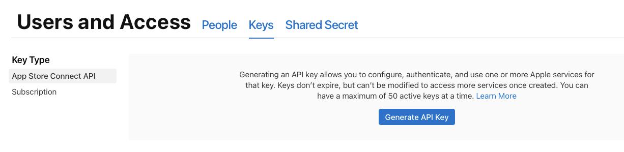 iOS api key in app store